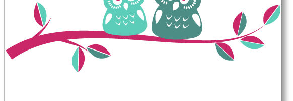 owls on branch_pink_mint_teal